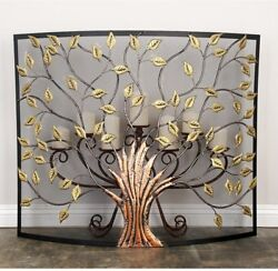 Rustic Tree Of Life Fireplace Screen 1-panel Metal Mesh W/gold Leaf Cut-outs