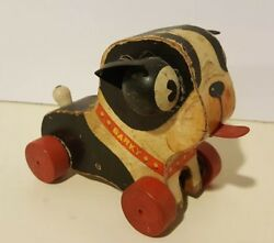 Vintage Fisher Price Boston Terrier Dog BARKY ~ #462 Pull Toy Made in USA