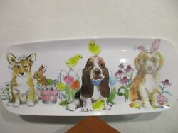 Basset Hound Puppy Dog Easter Chick Platter Tray Flowers Bunny Fox NEW