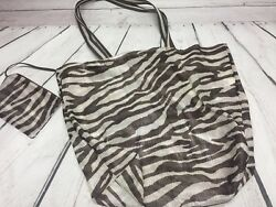 Old Navy Beach Bag & Zippered Pouch Brown & White Mesh Tote Handbag Large