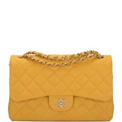 Chanel Yellow Shiny Quilted Caviar Jumbo Classic Double Flap Bag