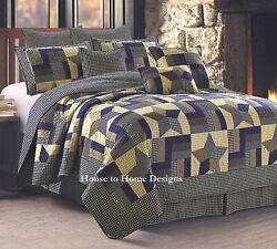 Woodland Star Blue Brown 3pc King Quilt Set 5 Point Farmhouse Country Plaid