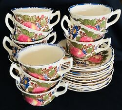 Vintage Myott Son And Co. England Cup And Saucer Flower Design Set Of 11 1148.