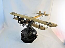 German Model Aircraft Mounted On Ww1 Pickelhaube Made By Recouping Army Medic.