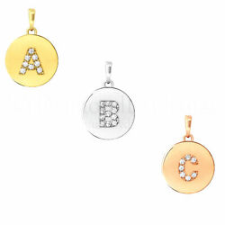 Initial Letter A-z Pendant 14k Solid Gold 12mm Charm 1/4tcw Created Diamond