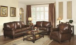 Montbrook Traditional Leather Sofa Loveseat Chair With Rolled Arms Nailhead Trim