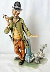 Capodimonte Figurine Man with Cigar with His Scottish Terrier Dog