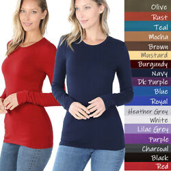 Basic Plain Solid Long Sleeve T Shirt Crew Neck Round Neck Stretch Cotton Tee $7.99