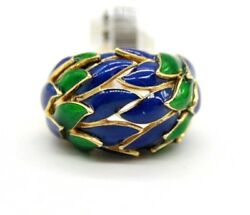Vintage 18k Yellow Gold Green And Blue Enamel Leafs Ladies Cocktail Ring.size 6