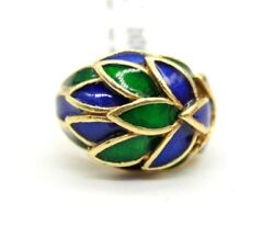 Vintage 18k Yellow Gold Green And Blue Enamel Leafs Ladies Cocktail Ring.size 5