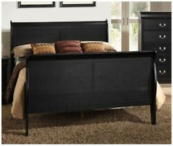 1pc King Size Bed Curved Headboard Footboard Rails Black Finish Wooden Frame