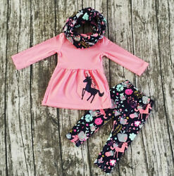 USA Toddler Kids Baby Girl Unicorn Long Sleeve Tops Dress Pants Outfits Clothes