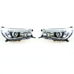 Head Light Led Drl Projector X2 For 2015-18 Toyota Hilux Revo Double Cab Sr5 M70