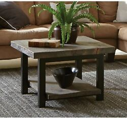 Rustic Industrial Reclaimed Wood And Metal Square Coffee Table W/shelf 27 Sq