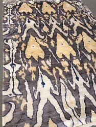 Spectacular Hand Knotted Ikat Area Rug All Silk Pile Tribal 6'x9' New Elegant