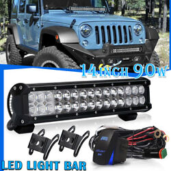 DUAL-ROW 14INCH 90W LED LIGHT BAR SPOT FLOOD COMBO FOR OFFROAD TRUCK ATV SUV 15