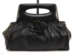 CHANEL Clutch Bag Tote Black Lambskin Camellia Silver Top Handle 2003 Vintage