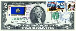 2 Dollars 1976 First Day Stamp Cancel State Flag From South Dakota Value 300