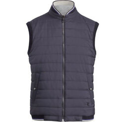 Purple Label Navy Quilted Jersey Reversible Baseball Bomber Vest