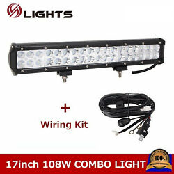 17inch 108w Led Light Bar Combo Fog Driving For Jeep Boat Suv Atv+wiring Kit 16