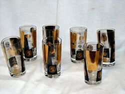 Set Of 7 Cera Mid Century Glasses With Gold Black Usa Dollar Coins Design