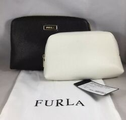 Furla Classic Cosmetic Case Bag 2 Pouch Set BlackWhite Leather NWT