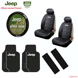 New 9pcs Jeep Elite Style Car Truck Seat Covers Floor Mats Steering Wheel Cover