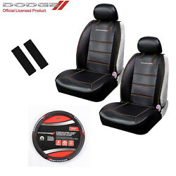 New 5 Pc Dodge Elite Logo Car Truck Suv Front Seat Covers Steering Wheel Cover