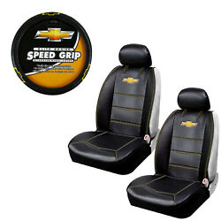 New 5pcs Chevy Elite Logo Car Truck Seat Covers Steering Wheel Cover Set