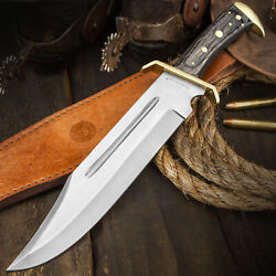 12quot; Wood Hunting Survival Skinning Fixed Blade Knife Full Tang Army Bowie