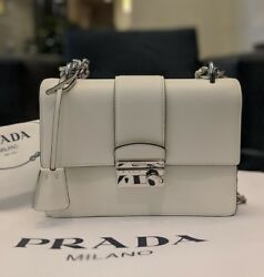 New women's 1BD034 Prada Saffiano white Bianco messenger crossbody shoulder bag