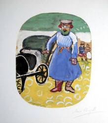 Marc Chagall Hand Signed The Coachman Lithograph