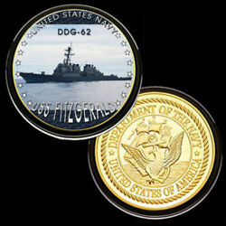 U.s. United States Navy | Uss Fitzgerald Ddg-62 | Gold Plated Challenge Coin