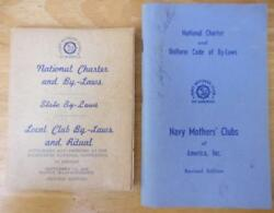Navy Mothers Clubs Of America Lot Of 2 Books Of Club By-laws And Ritual 1958/1968