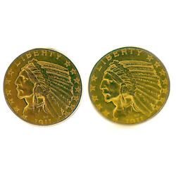 Native American 5 Indian Head 1911 14k/22k Solid Gold Cuff Link Set