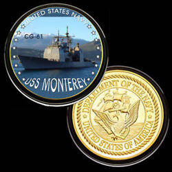 U.s. United States Navy   Uss Monterey Cg-61   Gold Plated Challenge Coin