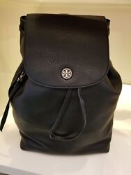 NWT!!! TORY BURCH (43508) BRODY BLACK PEBBLED LEATHER BACKPACK BAG Womens