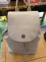NWT TORY BURCH BRODY FRENCH GRAY PEBBLED LEATHER BACKPACK Womens Travel Bag