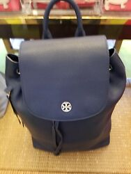 NWT!! TORY BURCH (43508) BRODY Navy Blue PEBBLED LEATHER BACKPACK Travel Womens