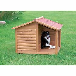 Large Wooden Dog House with Covered Porch Medium - Large Breeds Wood Pet Shelter
