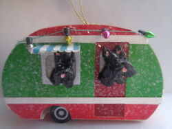 HAND SCULPTED ART~~2 BLACK SCOTTIE Terriers LIGHT UP CAMPER MOTORHOME Ornament~~