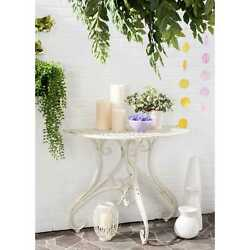 Half Round Cast Iron Outdoor Accent Side Console Table Antique White Victorian