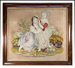Georgian - Victorian Era 29.75 Needlepoint Needlework Canvas In Frame 2 Girls