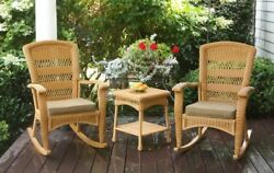 3-pc Set 2 Wicker Patio Rocking Chairs And Side Table Porch Rockers W/cushions