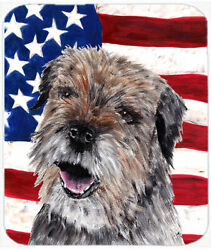 Patriotic Border Terrier Mix USA American Flag Glass Cutting Board