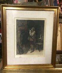 Great Old French Signed Engraving Framed Print 26andrdquo X 22andrdquo Pipe Smoking Tobacco