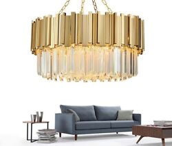 Modern Chandelier Lighting Crystal Luxury Stainless Steel Led Flush Mounted Lamp