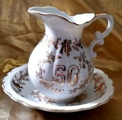 Lefton China 50th Anaversary Pitcher And Basin Bowl Hand Painted Gold