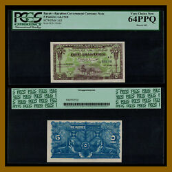 Egypt 5 Piastres, 1918 P-162 Pcgs 64 Ppq Egyptian Government Currency Note Unc
