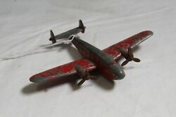 VINTAGE HUBLEY USN 3B4 TOY AIRPLANE WITH PROPS INTACT. PARTS OR REPAIR.